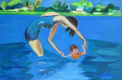 Art Print featuring the painting Swimmin' by Betty Pieper