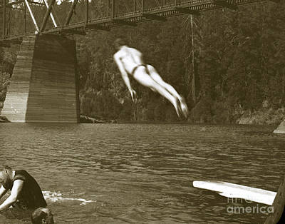 Photograph - Swimming And Diving In Russian River With Railroad Bridge Across by California Views Mr Pat Hathaway Archives