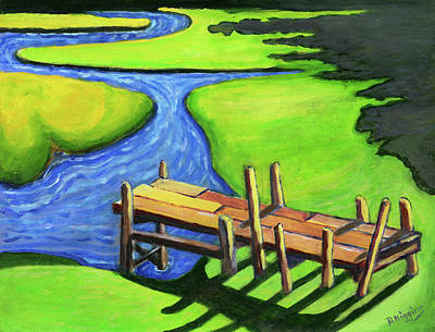 Painting - Swimming Dock, Sheepscot, Maine , Acrylic On Paper 11x14 by Dave Higgins