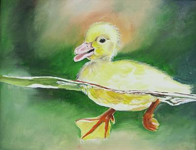 Swimming Duckling Art Print