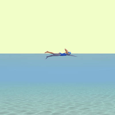 Minimal Wall Art - Photograph - Swimming Girl by Caterina Theoharidou