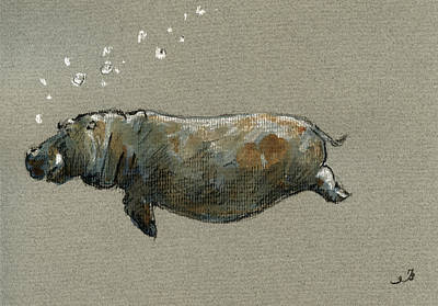 Swimming Painting - Swimming Hippo by Juan  Bosco
