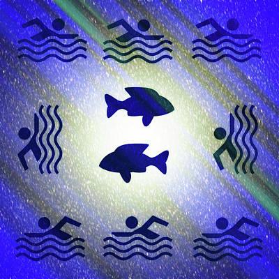 Digital Art - Swimming In The Cosmic Sea by Robert Frank Gabriel