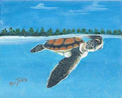 Painting - Swimming Lessons - Baby Turtle Near Surface by Mike Jenkins