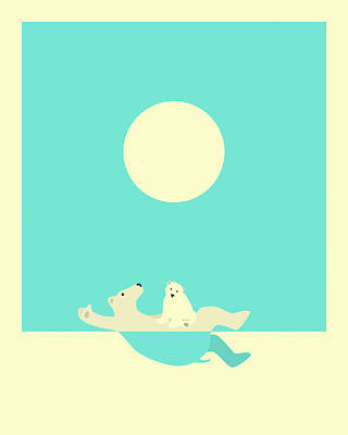Polar Bear Wall Art - Digital Art - Swimming Lessons by Jazzberry Blue