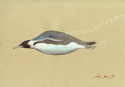 Swimming Penguin Painting Art Print by Juan  Bosco