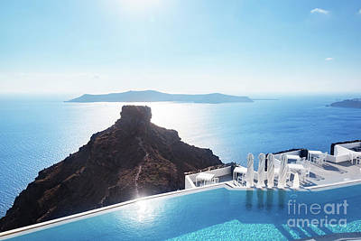 Photograph - Swimming Pool With A View On Caldera Over Aegean Sea, Santorini, Greece by Michal Bednarek