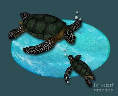 Shell Sign Digital Art - Swimming Sea Turtles by Alondra Hanley