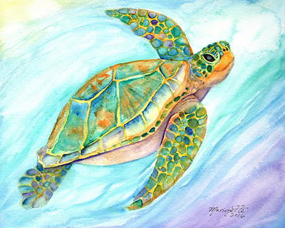 Painting - Swimming, Smiling Sea Turtle by Marionette Taboniar