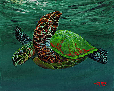 Art Print featuring the painting Swimming With Aloha by Darice Machel McGuire