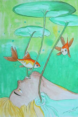 Impressionist Mixed Media - Swimming With Fishes by Dwayne Hamilton