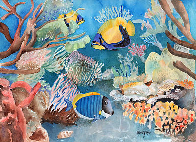 Exotic Fish Painting - Swimming With Friends by Arline Wagner