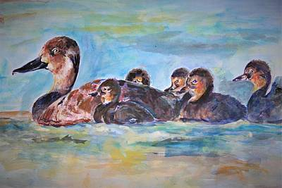 Painting - Swimming With Her Young, by Khalid Saeed