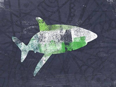 Sea Mixed Media - Swimming With Sharks 2- Art By Linda Woods by Linda Woods