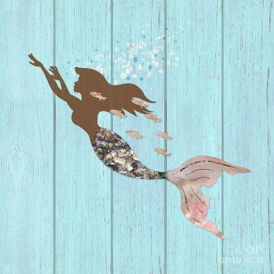Of Sirens Painting - Swimming With The Fishes A Brown Mermaid Racing Rose Gold Fish by Tina Lavoie