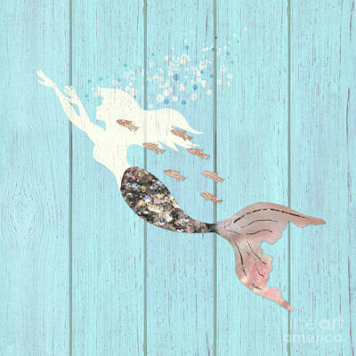 Swimming With The Fishes A White Mermaid Racing Rose Gold Fish Art Print by Tina Lavoie