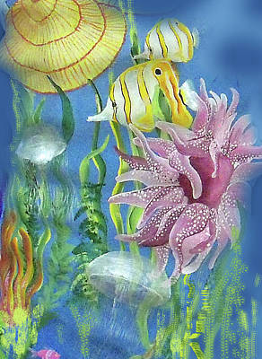 Swimming With The Jellies Art Print by Janis Grau