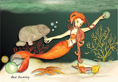 Art Print featuring the painting Swimming With The Manatees by Anne Beverley-Stamps