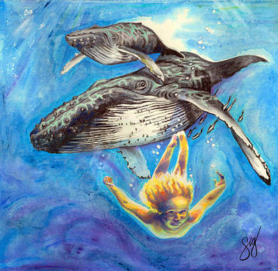 Painting - Swimming With Whales by Sigrid Tidmore