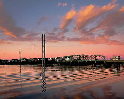 Photograph - Swing Bridge At Sunset, Topsail Island, North Carolina by John Pagliuca