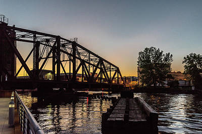 Photograph - Swing Bridge Sunset by Randy Scherkenbach