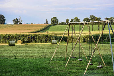 Photograph - Swing Set And Haybales by Tana Reiff