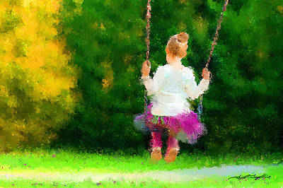 Girl On A Swing Painting - Swing Time Impressionistic by Tim Tompkins