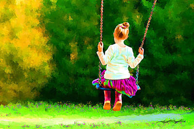 Girl On A Swing Painting - Swing Time by Tim Tompkins