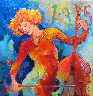 Bass Cello Painting - Swinging At Club 135 by Susanne Clark