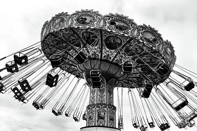Seaside Heights Photograph - Swinging At Seaside Heights Mono by John Rizzuto