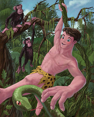 Chimpanzee Digital Art - Swinging Boy Tarzan by Martin Davey