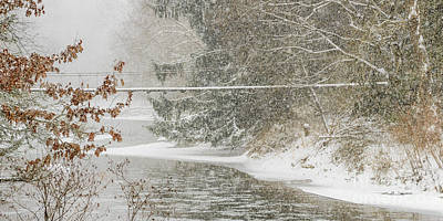 Swinging Bridge In Snow Storm Art Print
