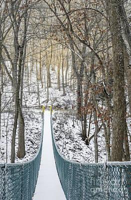 Photograph - Swinging Bridge In Winter by Tamara Becker