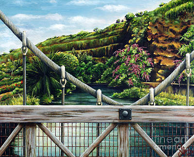 Medium Blue Painting - Swinging Bridge by Sandra Blazel - Printscapes