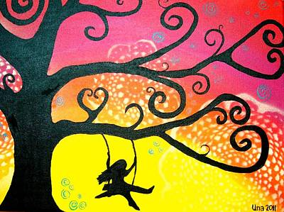 Girl On A Swing Painting - Swinging In The Breeze by Una  Miller
