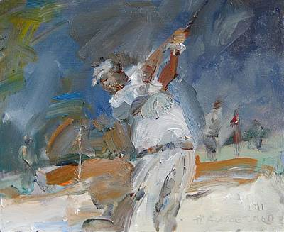 Sit-ins Painting - Swinging Off The Sand by Paskalis Anastasi