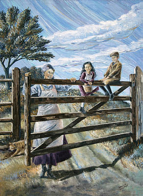 Painting - Swinging On A Gate by Paula Blasius McHugh
