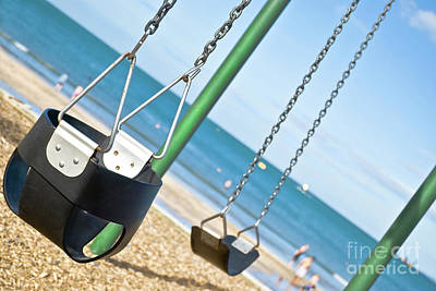 Print featuring the photograph Swings On The Ocean Beach by Yurix Sardinelly