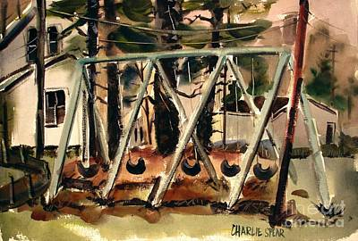 Print featuring the painting Swings Under The Pines Before The Storm Plein Air by Charlie Spear
