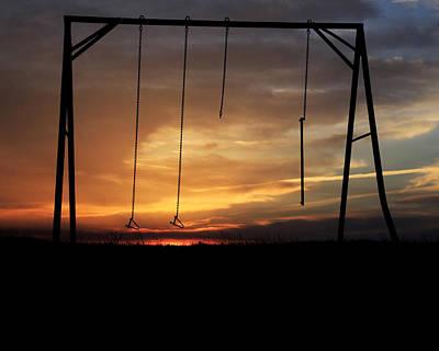 Swingset Sunset Art Print
