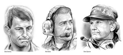 Football Drawing - Swinney Saban Spurrier by Greg Joens