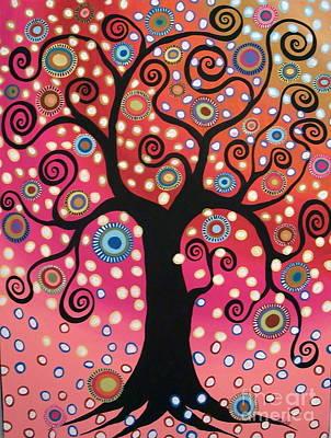 Dot Painting - Swirl Tree In Bloom  by Karla Gerard