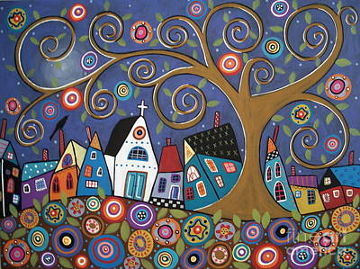 Folk Art Flowers Painting - Swirl Tree Village by Karla Gerard