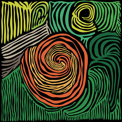 Digital Art - Swirl Woodcut 1 by Kevin McLaughlin