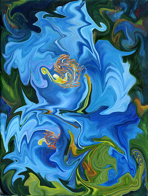 Swirled Blue Poppies Art Print by Renate Nadi Wesley