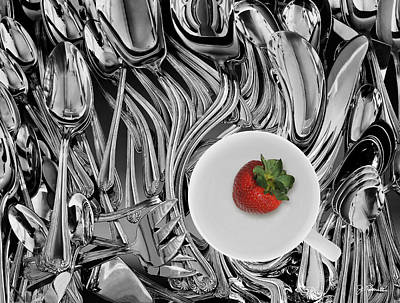 Photograph - Swirled Flatware And Strawberry by Joe Bonita