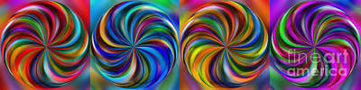 Multicolored Digital Art - Swirling Colors Horizontal Collage By Kaye Menner by Kaye Menner