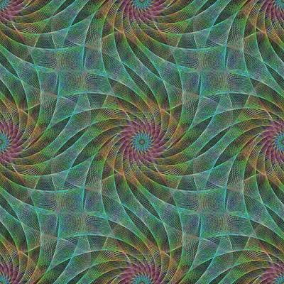 Psychedelic Digital Art - Swirling Fractal Veils by David Zydd