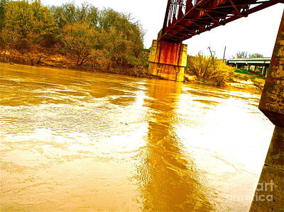Swirling Good Water And Brazos Bridge Art Print by Chuck Taylor