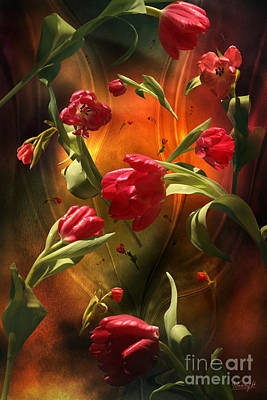 Digital Art - Swirling Tulips by Johnny Hildingsson
